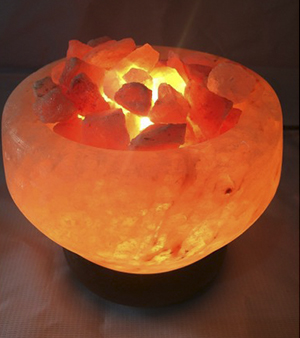 Himalayan Salt Lamp In Fire Bowl Shape