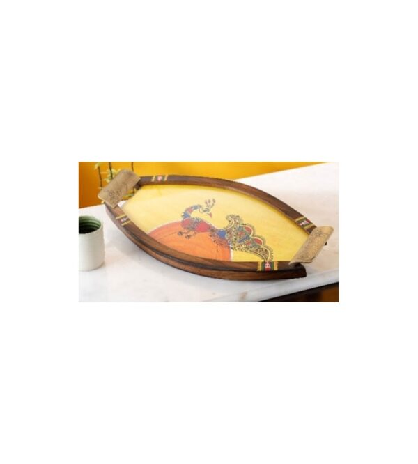Wooden oval shape tray with glass