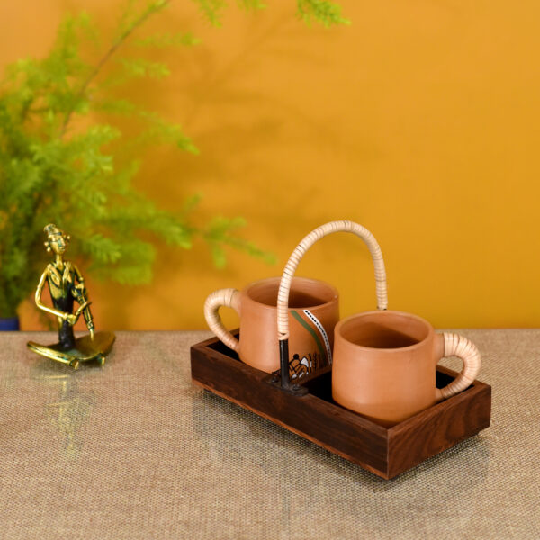Happy Morning Earthen Cups with Cane Embellished Tray