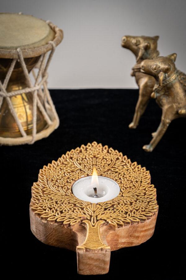 Handcrafted Sheesham Wood Block Lea Lights Holder - Off white Vriksham