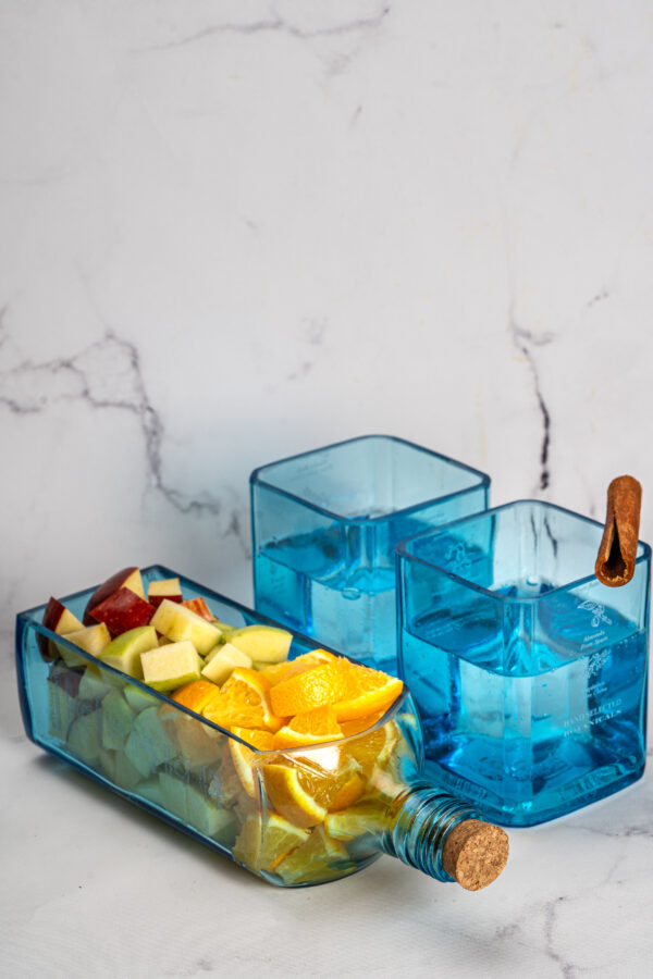 Stylish Serving platter from upcycled bottle and 2 glasses - Blue