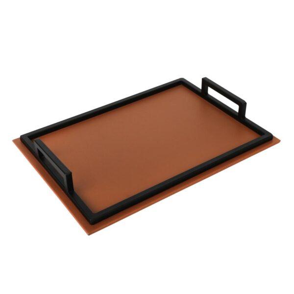 Tan & Black Rectangular Tray