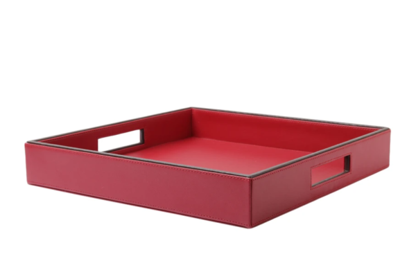 Red & Brown Leatherite Tray